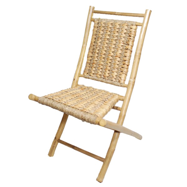 Striped Natural Finish Bamboo Folding Chair