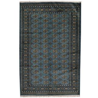 Herat Oriental Pakistani Hand-knotted Prince Bokhara Blue/ Gold Wool Rug (5' x 8')