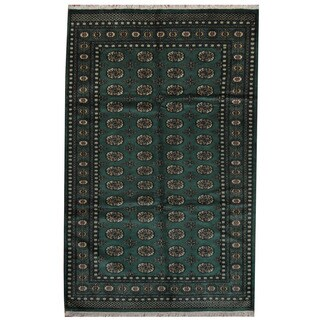 Herat Oriental Pakistani Hand-knotted Prince Bokhara Green/ Gold Wool Rug (5' x 8')