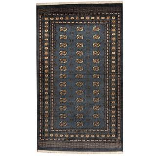 Herat Oriental Pakistani Hand-knotted Prince Bokhara Gray/ Gold Wool Rug (5' x 8')