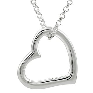 Journee Collection  Sterling Silver Heart Necklace