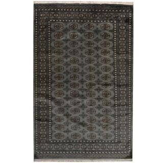 Herat Oriental Pakistani Hand-knotted Prince Bokhara Gray/ Ivory Wool Rug (5' x 8')