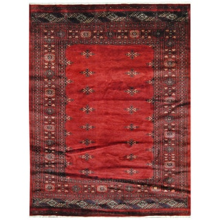 Herat Oriental Pakistani Hand-knotted Prince Bokhara Red/ Gold Wool Rug (5'7 x 7'3)