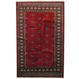 Herat Oriental Pakistani Hand-knotted Prince Bokhara Red/ Gold Wool Rug (4'8 x 7'5)