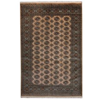 Herat Oriental Pakistani Hand-knotted Prince Bokhara Beige/ Green Wool Rug (5' x 8')