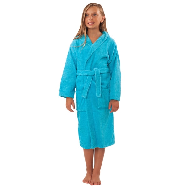 100-percent Turkish Cotton Kid's Hooded Terry Bathrobe Large Size in Royal Blue (As Is Item)