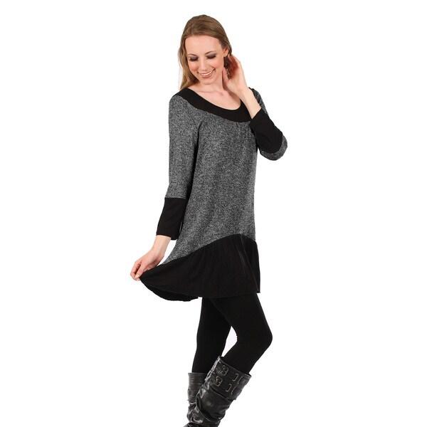 Firmiana Women's Long-Sleeve Deep Grey and Black Skirted Tunic