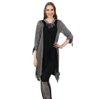 Firmiana Women's 3/4-Length Crocheted Sleeve Grey/ Black Tunic