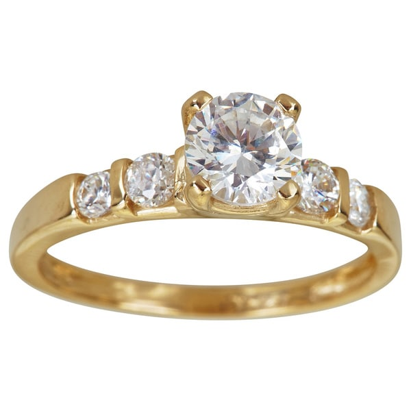 14K Gold 6mm Round Cut 5 Stone Engagement Ring