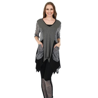 Firmiana Women's 3/4-Length Sleeve Black and Grey Crochet Pocket Tunic