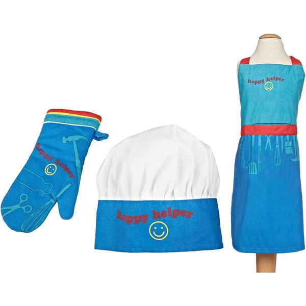 MUkitchen MiniMu Kids 3-Piece Cotton Chef Set with Apron, Hat and Mitt, Happy Helper