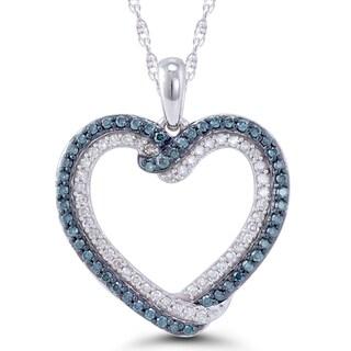 10k White Gold 1/2ct TDW Blue and White Diamond Heart Pendant (H-I, I2-I3)