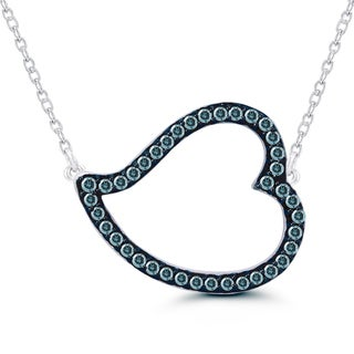 Sterling Silver 1/5ct TDW Blue Diamond Heart Necklace