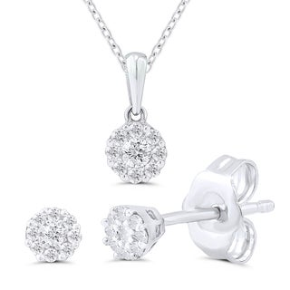 Sterling Silver 1/6ct TDW Diamond Pendant and Earrings (H-I, I2-I3)
