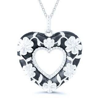 Sterling Silver 1/8ct TDW Diamond Floral Vintage Inspired Heart Pendant (H-I, I2-I3)