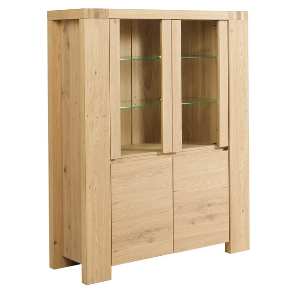 Aaron French Oak Glass Door Storage Cabinet