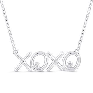 Sterling Silver Diamond Accent XOXO Necklace