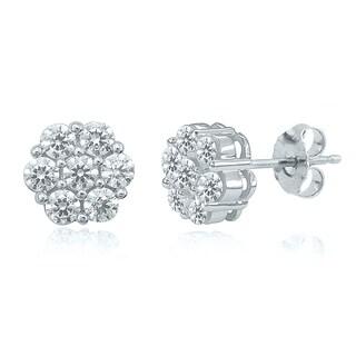 10k White Gold 1/8ct TDW Round Diamond Cluster Earrings (H-I, I2-I3)