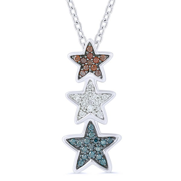 Sterling Silver Color Diamond Accent Star Pendant