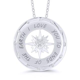 Sterling Silver 'I Love You' Diamond Accent Compass Pendant (I-J, I2-I3)