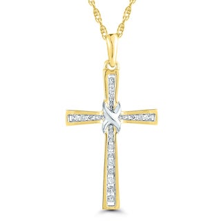 10k Yellow Gold 1/10ct TDW Diamond Cross Pendant (I-J, I2-I3)