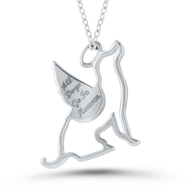 Sterling Silver Diamond Accent 'All Dogs Go To Heaven' Pendant