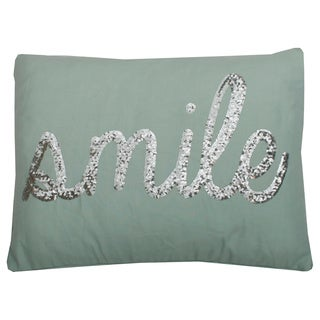 Smile Sequin Script Feather Filled 14 x 18 Pillow