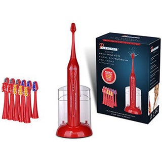 Pursonic S450 Red Deluxe Sonic Toothbrush with 12 Brush Heads and UV Sanitizer