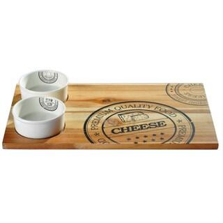 Vanilla Slice Acacia Serving Tray w/ 2 bowls