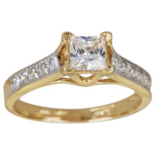 14k Yellow Gold Princess Cut Pave Cubic Zirconia Engagement Ring