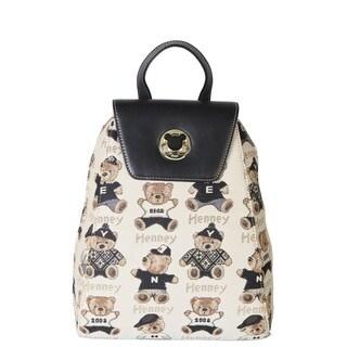 Henney Bear Canvas Leather Backpack Handbag