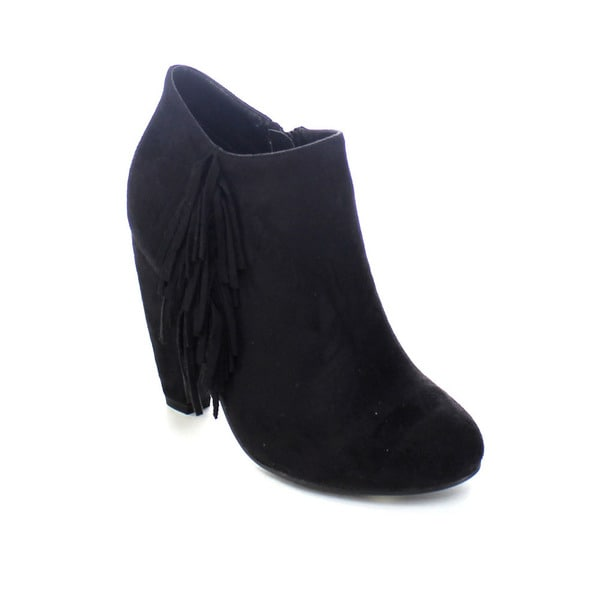 ADRIANA TUNER-25 Women's Cone Heel Fringe Deco Ankle Booties Size 8.5 in Black (As Is Item)