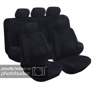 9-piece Fabric with Mesh Seat Covers with Zipper Bench