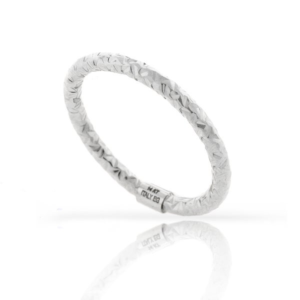 14k White Gold Womens Fancy Diamond Cut Hammered Ring Size 7 9