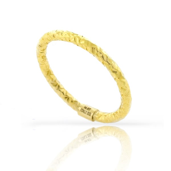 14k Yellow Gold Womens Fancy Diamond Cut Hammered Ring Size 7 8