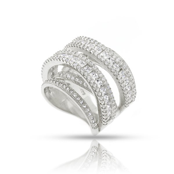 .925 Sterling Silver Womens CZ Micro Pave Rounded Rhodium Ring Size 6 7 8 9