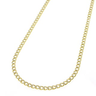 10K Gold Hollow Two-tone Cuban Curb Diamond Cut Pave 2mm Chain Necklace