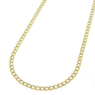 10K Gold Hollow Two-tone Cuban Curb Diamond Cut Pave Chain 2.5mm Necklace
