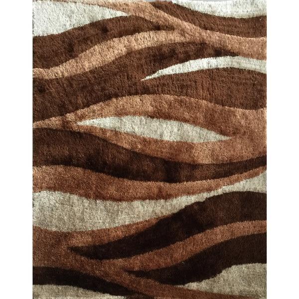 "Hand-tufted Brown Shag Area Rug (7'6"" x 10'3"")"