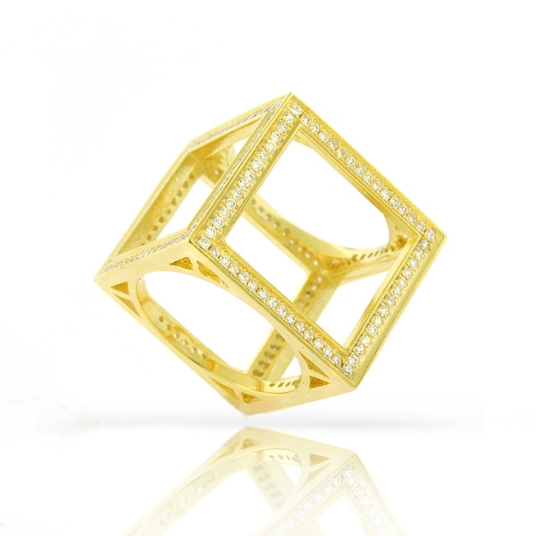 .925 Sterling Silver Womens CZ Micro Pave Box Cube Yellow Gold Ring Size 6 7 8 9