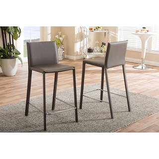Baxton Studio Crawford Modern and Contemporary Taupe Leather Upholstered Counter Height Stool 2-piece Set