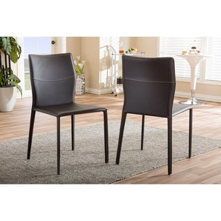 Baxton Studio Asper Modern and Contemporary Dark Brown Bonded Leather Upholstered 2-piece Dining Chair Set