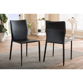 Baxton Studio Asper Modern and Contemporary Black Bonded Leather Upholstered 2-piece Dining Chair Set