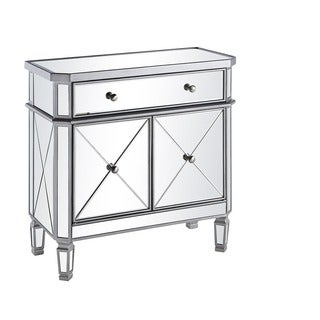 Elegant Lighting 1 Drawer 2 Door Mirrored Cabinet