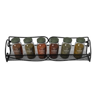 Black Wall Mount Single Tier Mesh Spice Rack (2 pack)