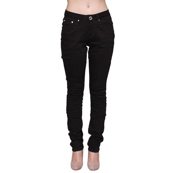 Sexy Couture Women's Dark Wash Rhinestone Pockets Super Skinny Jeans