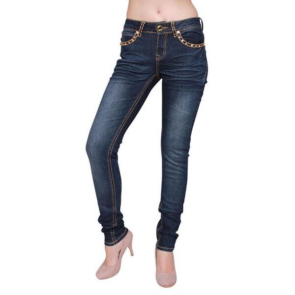 Sexy Couture Women's Dark Wash Denim Rhinestone Stitched Skinny Jeans