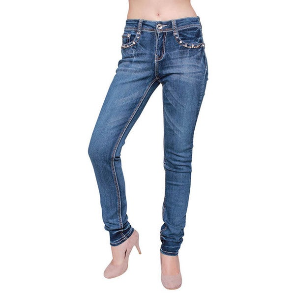 Sexy Couture Women's Light Wash Rhinestone Stitched Super Skinny Jeans
