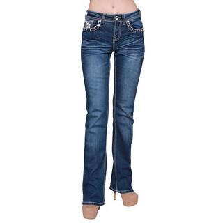 Sexy Couture Women's Dark Wash Rhinestone Stitched Boot Cut Jeans