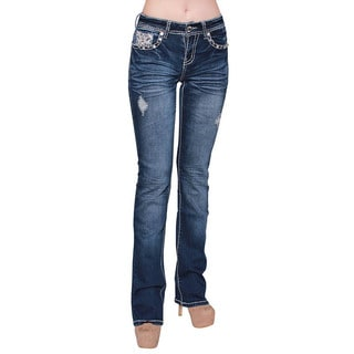 Sexy Couture Women's Dark Wash Distressed Ripped Stitched Boot Cut Jeans